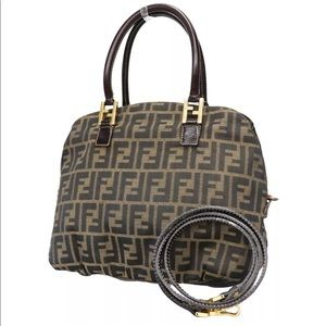 Gorgeous Auth Fendi Zucca Pattern Canvas Leather